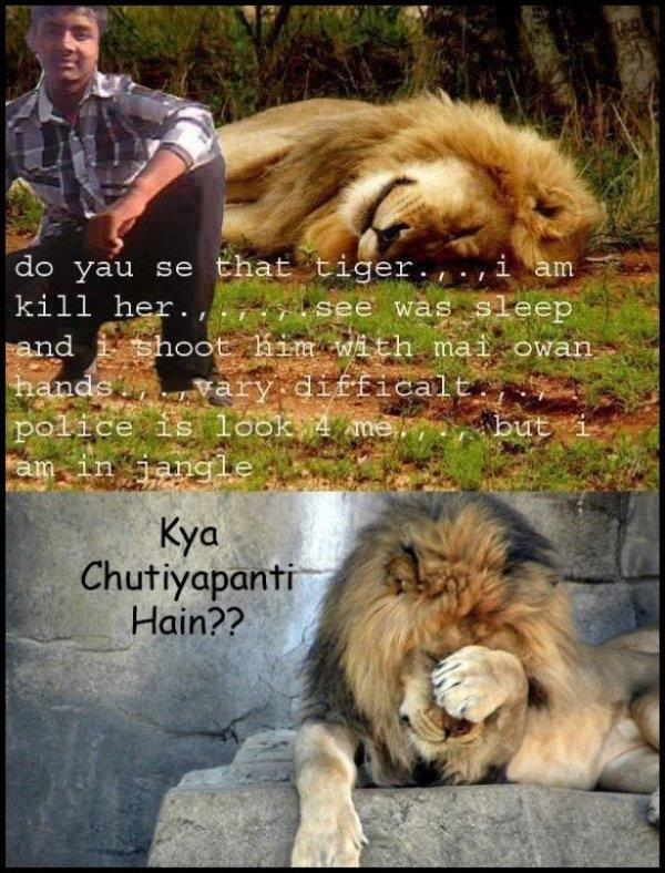 "Photo Merging  his body into another picture were is lion animal sleeping and claiming that he has killed that ""tiger"""