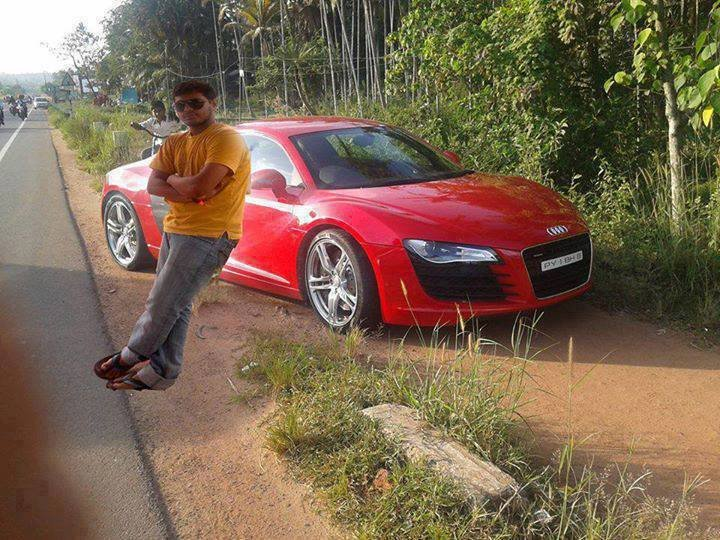 Merging his personal photo close by audi sport car from another photo